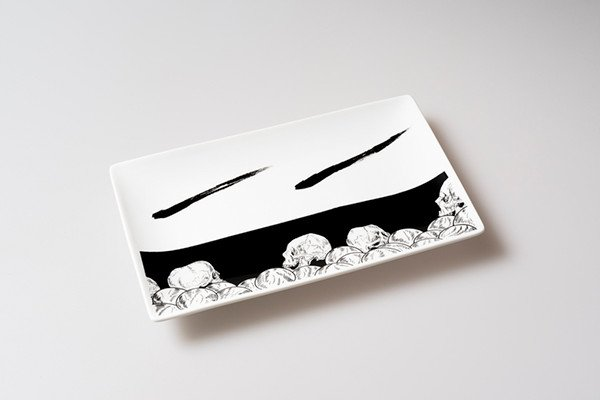画像1: 黒髑髏長角皿 (1)