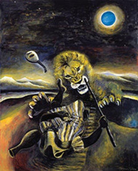 画像1: ポストカード ライオンと緑の月 (1)